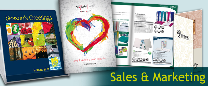 a montage image of some of the sales and marketing material we have created